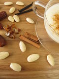 Warm almond milk with spices Royalty Free Stock Images