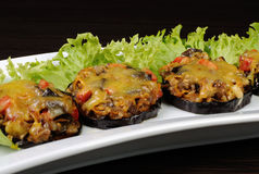 Warm appetizer of eggplant under cheese Stock Image