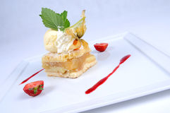 Warm apple pie with vanilla ice cream [2]. Warm apple charlotte with vanilla sauce and a scoop of ice-cream Apfelscharlotte mit Eiskugel und Vanillesauce, warm royalty free stock photography
