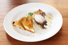 Warm apple tart with ice cream Stock Photo