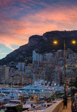 Warm atmosphere of evening in Monaco. Beautiful sunset in Monaco covers the city stock images