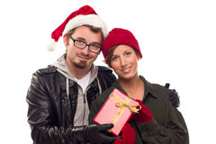 Warm Attractive Young Couple with Holiday Gift Stock Photography
