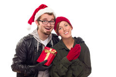 Warm Attractive Young Couple with Holiday Gift Royalty Free Stock Photos