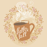 Warm autumn drink. Cup of coffee. Vector illustration in pastel autumn tones Royalty Free Stock Photography