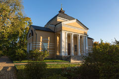 Warm autumn evening in the old estate. The church in Tarkhany (Lermontov's estate), Russia royalty free stock images