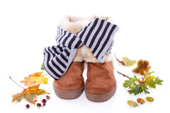 Warm autumn fur boots Stock Images
