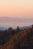 Warm Autumn Mountains Above Clouds. An autumn sunrise above the clouds of the Smoky Mountains Nat. Park, USA Royalty Free Stock Images