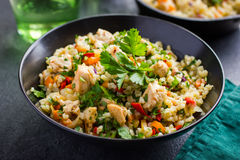 Warm barley salad with chicken and vegetables. Selective focus Royalty Free Stock Photos