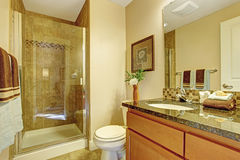 Warm bathroom interior with glass door shower Royalty Free Stock Images