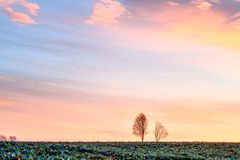 Warm Bavarian Spring Sunrise HDR Royalty Free Stock Photos