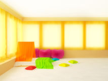 Warm bedroom. Sunny and warm bedroom with orange curtains and pillows in the shape of heart Royalty Free Stock Images