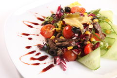 Warm beef salad with sauce Royalty Free Stock Photography