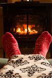 Warm Blanket Next to Fireplace royalty free stock photography