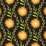 Warm Bloempatroon op Bruine Achtergrond Stock Fotografie