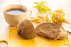 Warm Breakfast. Tea And Bread. Bread With Sesame Stock Photo