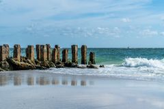 Warm and Breezy Day. A warm and breezy day at the beach on Anna Maria Island in Southwest Florida stock images