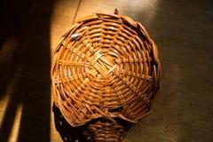 Warm brown rod circular weave texture. Wickerwork Royalty Free Stock Photo