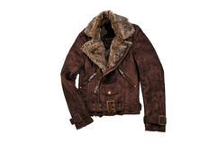 Warm brown shearling winter coat isolated on white. Casual jacke Stock Photo