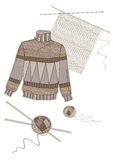 Warm brown wool sweater. And collection of women's needlework Stock Photo