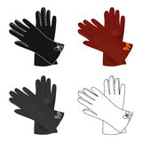 Warm burgundy gloves for hands. Female winter accessory.  Woman clothes single icon in cartoon style vector symbol stoc Royalty Free Stock Photo