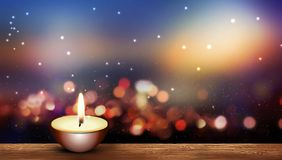 Free Warm Candle On Wooden Floor Bokeh Lights Background Stock Images - 160138294