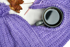 Warm cap, scarf and hot drink Royalty Free Stock Images