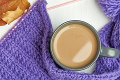 Warm cap, scarf and hot drink Royalty Free Stock Photo