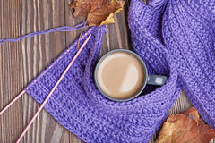 Warm cap, scarf and hot drink Stock Image