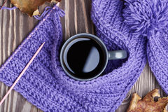 Warm cap, scarf and hot drink Royalty Free Stock Photos
