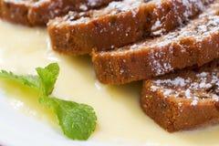 Warm carrot pie. Warm carrot cake with vanilla sauce Royalty Free Stock Photos
