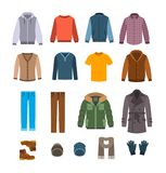 Warm casual clothes for men vector icons Stock Images