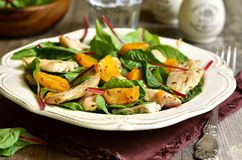 Warm chard salad. Warm chard salad with pumpkin and chicken.Rustic style stock photography