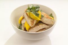 Warm chicken salad. Lunch time warm chicken salad with mango a healthy choice Stock Image