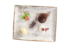 Free Warm Chocolate Fondant Dessert With Ice Cream And Strawberry On Plate Isolated On White Background Stock Images - 176063094