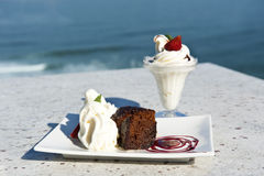 Warm chocolate pudding and ice cream Royalty Free Stock Images