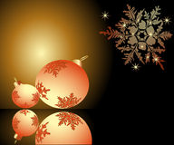 Warm christmas atmosphere. Romantic Christmas cover with orange balls Royalty Free Stock Image
