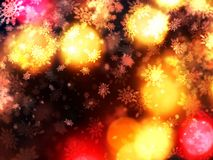 Warm christmas light shaft snowflakes background Stock Photo