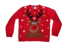 Warm Christmas sweater on white background. Seasonal clothing royalty free stock image