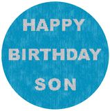 Circle image for sons birthday knitted style royalty free stock photos
