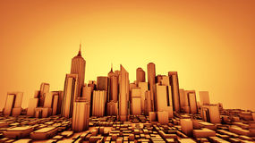 Warm City. A city rendered as basic shapes in 3D Royalty Free Stock Photos
