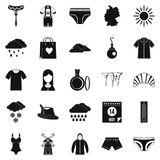 Warm clothes icons set, simple style. Warm clothes icons set. Simple set of 25 warm clothes vector icons for web isolated on white background Royalty Free Stock Photos