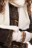 Warm clothing fur jacket scarf winter fashion Stock Photography
