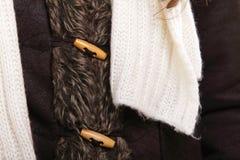 Warm clothing fur jacket winter fashion Stock Images