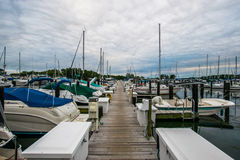 Warm Cloudy day in Havre De Grace, Maryland on the Board Walk Stock Images