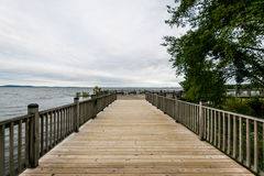 Warm Cloudy day in Havre De Grace, Maryland on the Board Walk.  stock photo