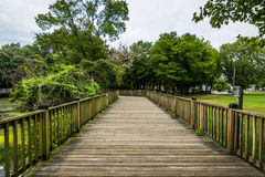 Warm Cloudy day in Havre De Grace, Maryland on the Board Walk.  royalty free stock photo