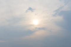Warm cloudy sky nature background blurring, warm colors and bright sunlight. Royalty Free Stock Photos