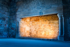 Warm and cold light in old castle. Warm and cold light in old medieval castle Royalty Free Stock Images