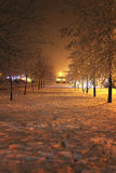 Warm cold. Winter path walley with warm light Royalty Free Stock Images