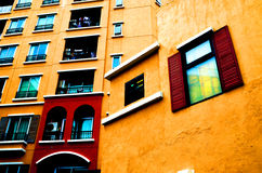 Warm color building view lateral. Dual color in warm color building view lateral Stock Image